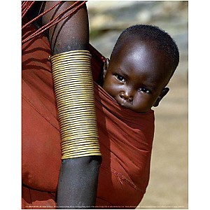 Bébé Samburu, Kenya, John WARBURTON-LEE, affiche 24x30 cm