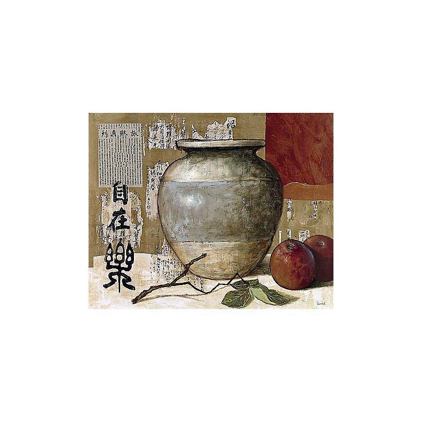 Céramique chinoise et pommes, Pascal LIONNET, affiche 40x50 cm