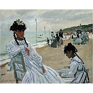 Sur la plage, Claude MONET (1840-1926), affiche 24x30 cm