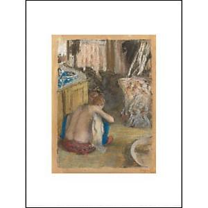 Femme nue, accroupie, de dos, Edgar DEGAS (1834-1917), affiche 30x40 cm