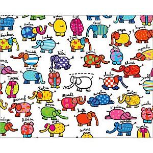 Les éléphants, Andrée PRIGENT, affiche 24x30 cm