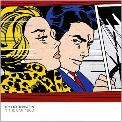 In the car , Roy LICHTENSTEIN (1923-1997), affiche 70x70 cm