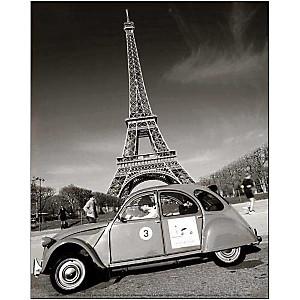 2CV et Tour Eiffel, Elan FLEISCHER, affiche 24x30 cm