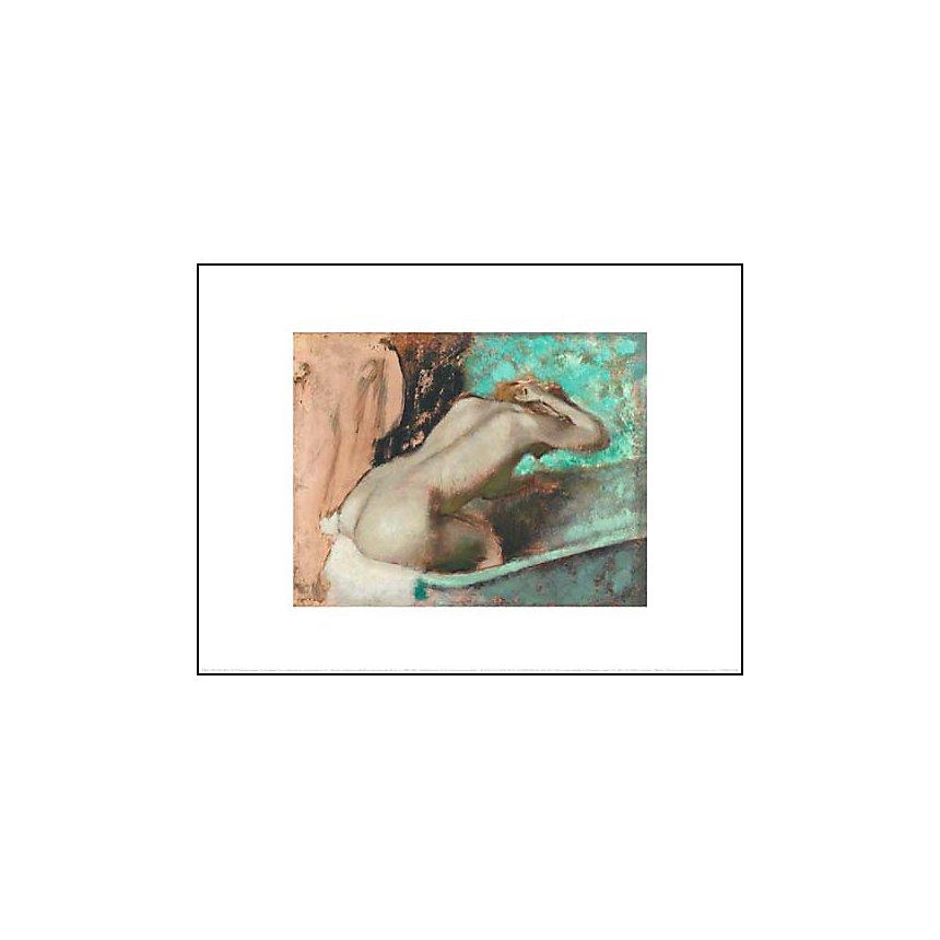 Femme assise sur le rebord d'une baignoire et s'épongeant le cou, Edgar DEGAS (1834-1917), affiche 30x40 cm