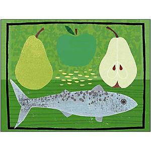 Poire, pomme et poisson, Jessie FORD, affiche 30x40 cm