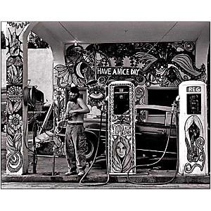 Station service hippie, USA, 1971 , Dennis STOCK, affiche 24x30 cm