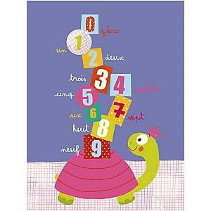 Les chiffres et la tortue, Isabelle JACQUE, affiche 30x40 cm