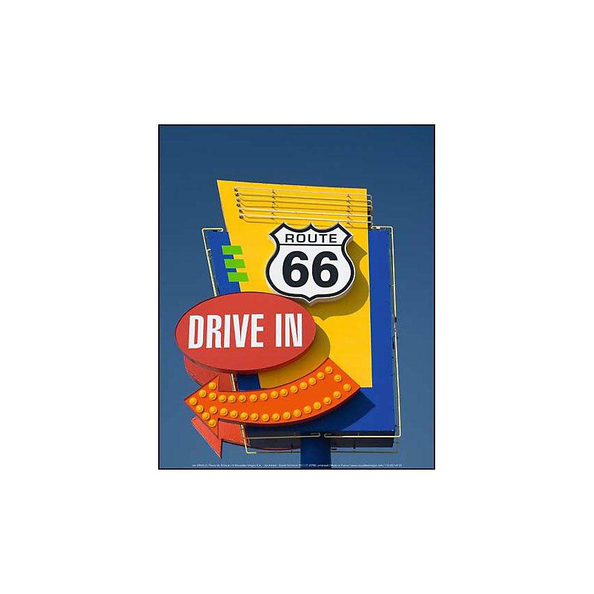 Route 66, Drive in , Jon ARNOLD, affiche 24x30 cm