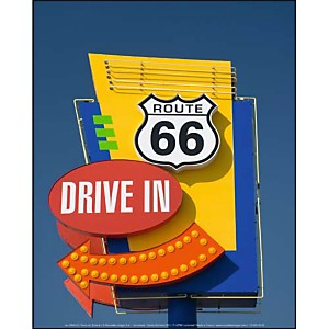 Route 66, Drive in , Jon ARNOLD, affiche 24x30 cm