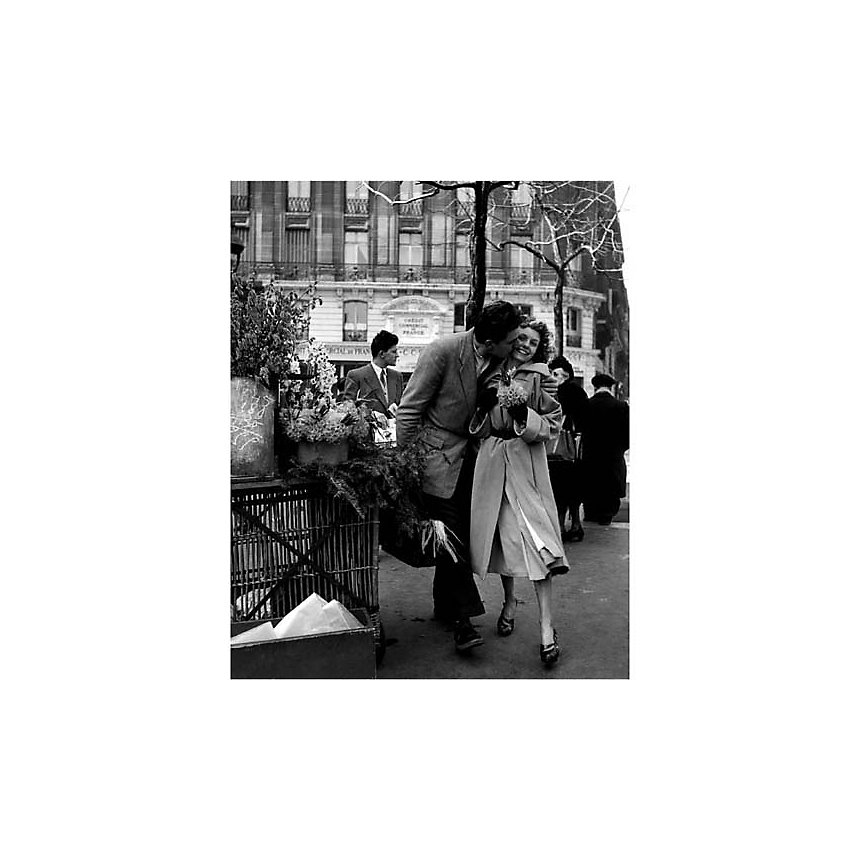 Les amoureux aux poireaux , Robert DOISNEAU (1912-1994), affiche 24x30 cm