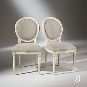 2 Chaises Médaillon blanches, Lin Prémiu