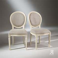 2 Chaises Médaillon blanches, Lin Prémiu...