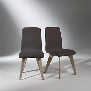 2 Chaises, chêne, lin gris, pieds fuselés, SIXTY
