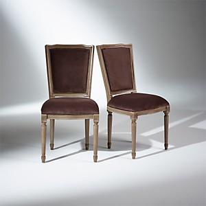 2 Chaises Marie Antoinette, assise velours marron