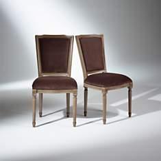 2 Chaises Marie Antoinette, assise velou...