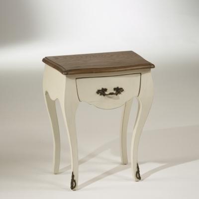 Chevet blanc d'ivoire, plateau chêne, 1 tiroir, ALICE