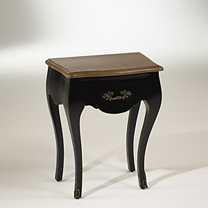 Chevet noir,  plateau chêne, 1 tiroir, ALICE