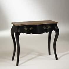 Console plateau chêne, 1 tiroir, noire, ...