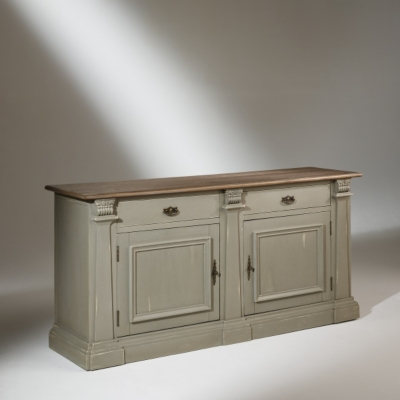 Buffet plateau chêne, 2 portes, 2 tiroirs,  patine vert de gris, BAPTISTE