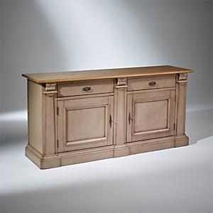 Buffet 2 tiroirs, 2 portes, Plateau Chêne, Patine Taupe, BAPTISTE