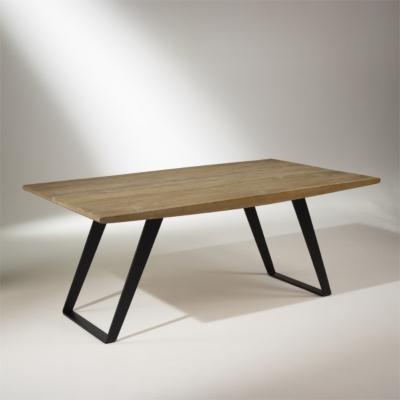 Table de salle à manger chêne massif, pieds métal,  8 à 10 couverts, HECTOR