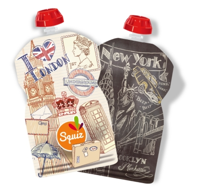 Lot de 2 gourdes SQUIZ réutilisables 130ml City (London, New York)