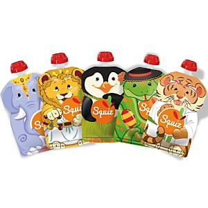 Lot de 5 gourdes SQUIZ réutilisables 130ml Carnaval