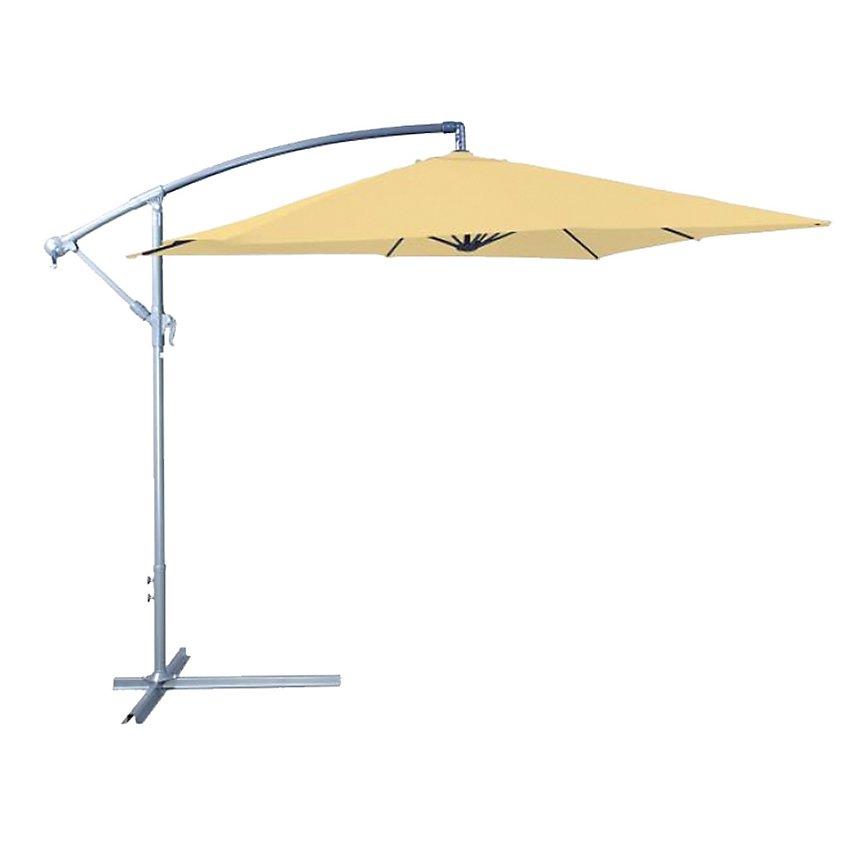 Parasol déporté 250 x 250 cm en aluminium et acier sable