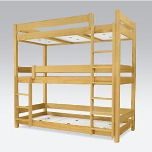 Lit superposé ABC 3 places en bois massi