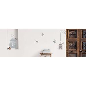 Sticker mural Cages blanches et oiseaux (DEVILLER )