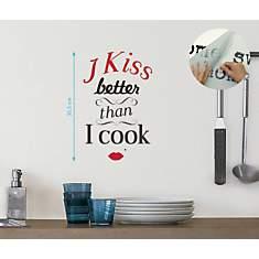 Sticker mural I kiss better than I cook