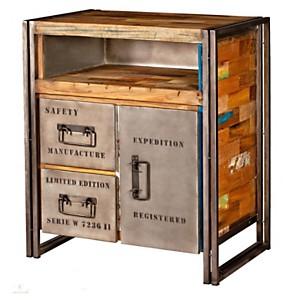 Buffet en bois 1 porte 2 tiroirs  Indust