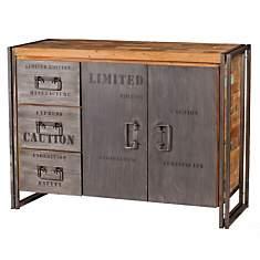 Buffet en bois 2 portes 3 tiroirs  Indus...