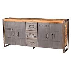 Buffet en bois 4 portes 3 tiroirs  Indus...