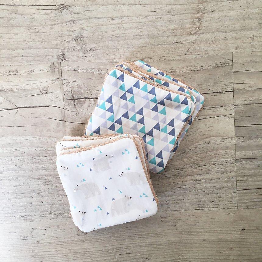 Lot de 10 lingettes lavables Ours polaires + Triangles bleus