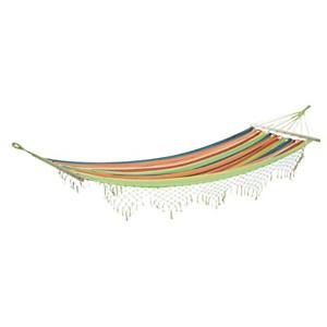 Hamac rayé multicolore avec franges