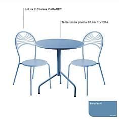 Ensemble table Riviera et 2 chaises Caba...