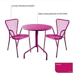 Ensemble table Riviera et 2 fauteuils Su...