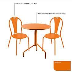 Ensemble table Riviera et 2 chaises Atel...
