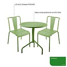 Ensemble table Riviera et 2 chaises Pana...