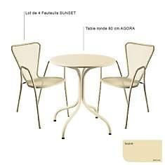 Ensemble table ronde Agora et 4 fauteuil