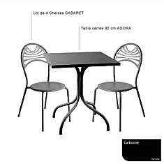Ensemble table carrée Agora et 4 chaises