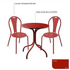 Ensemble table ronde Agora et 4 chaises