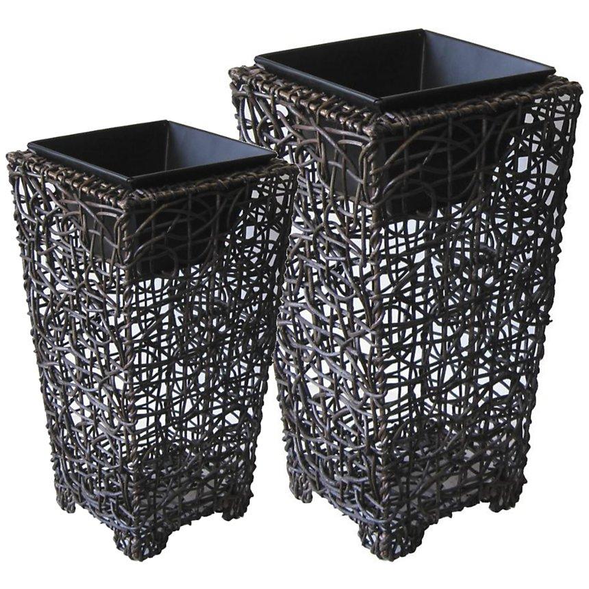 Lot de 2 vases en rotin et métal