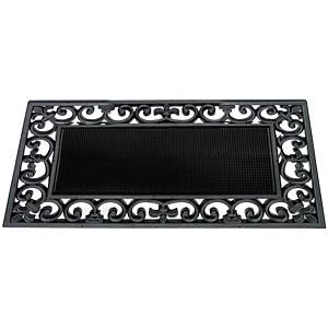 Paillasson jardin caoutchouc noir arabesques