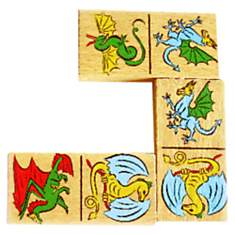 Domino en bois recto verso Dragons