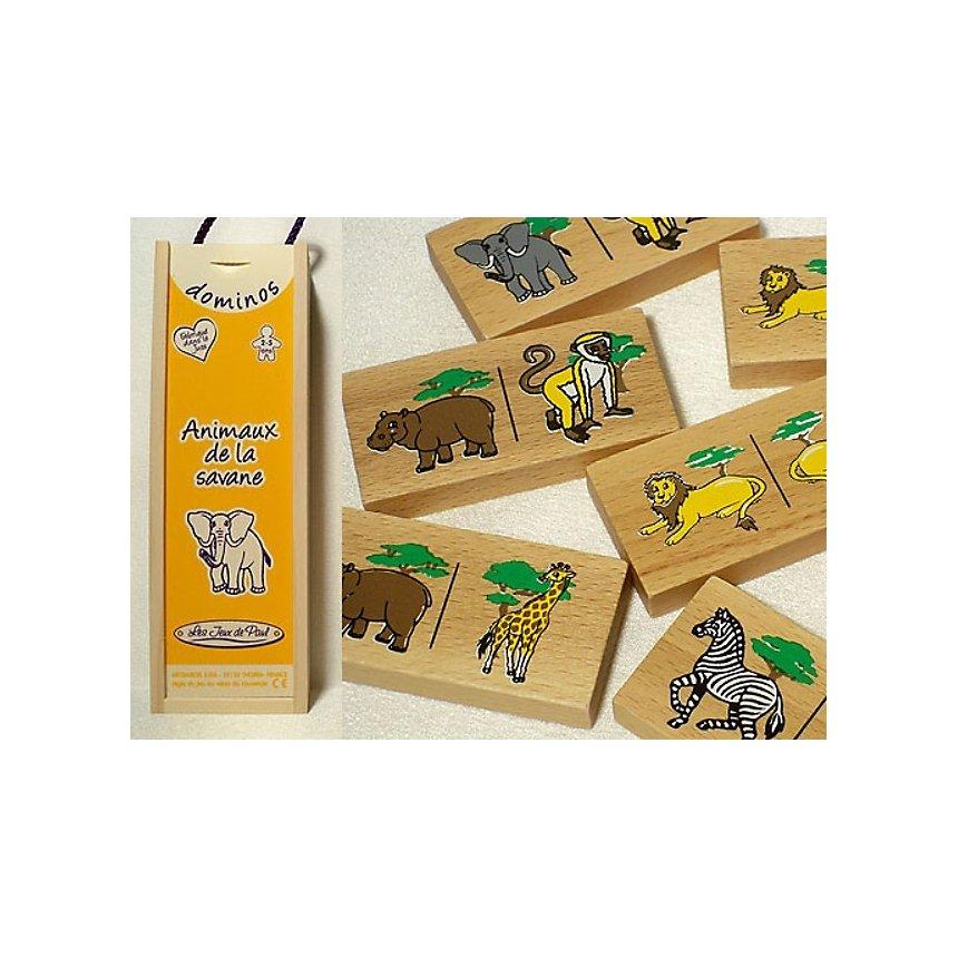 Dominos en bois animaux Savane