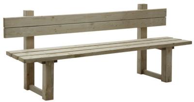 Banc de jardin avec dossier en bois traité autoclave vert gris