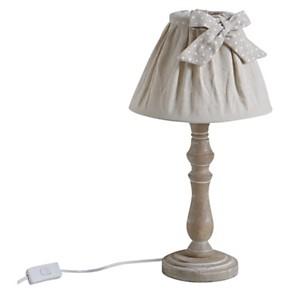 Lampe de chevet en bois abat-jour en coton