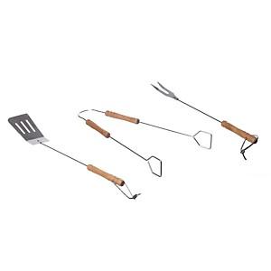 Set 3 Ustensiles pour barbecue en bois e